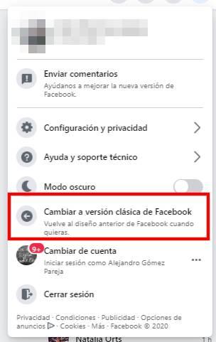 volver a la version clasica facebook