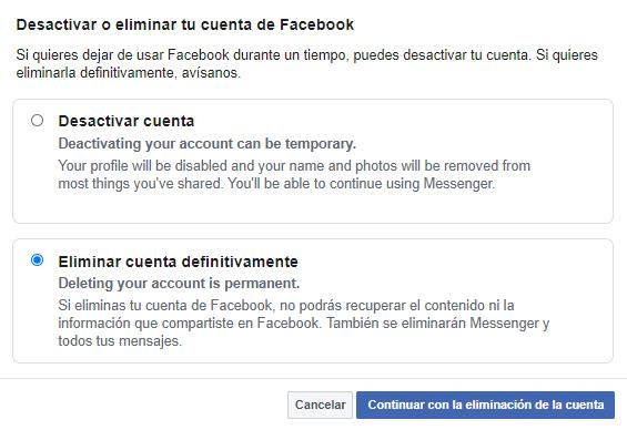eliminar cuenta facebook definitivamente