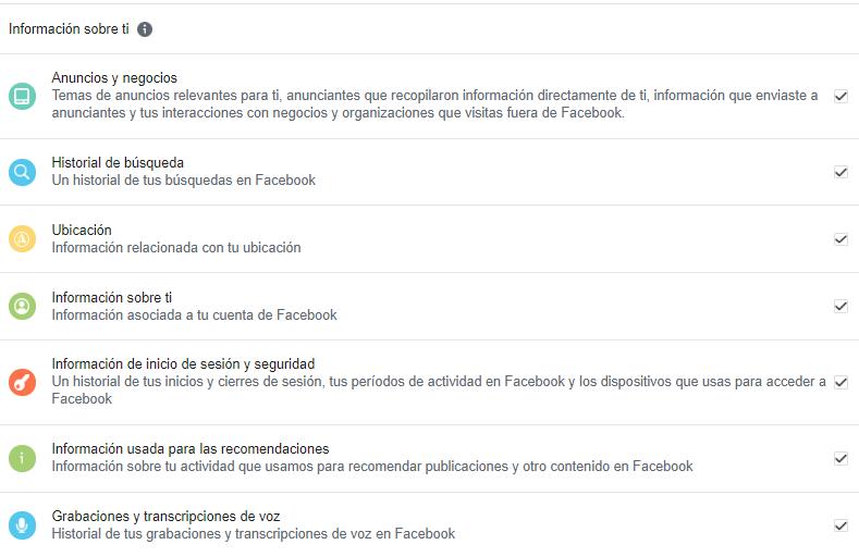 informacion sobre ti facebook