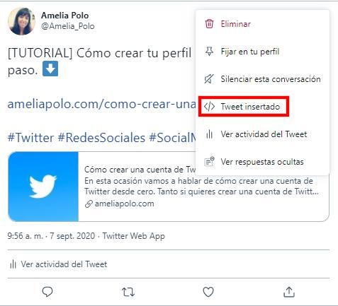 Como insertar un Tweet en tu pagina web o blog