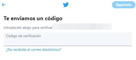 codigo verificacion cuenta twitter