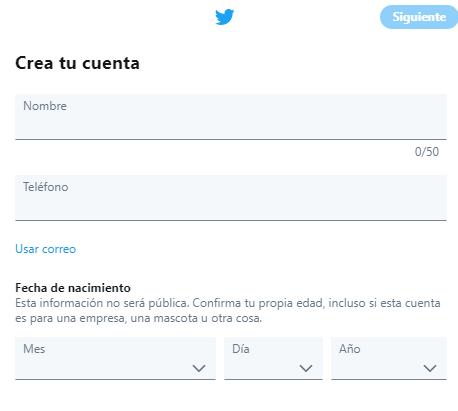 crear cuenta twitter