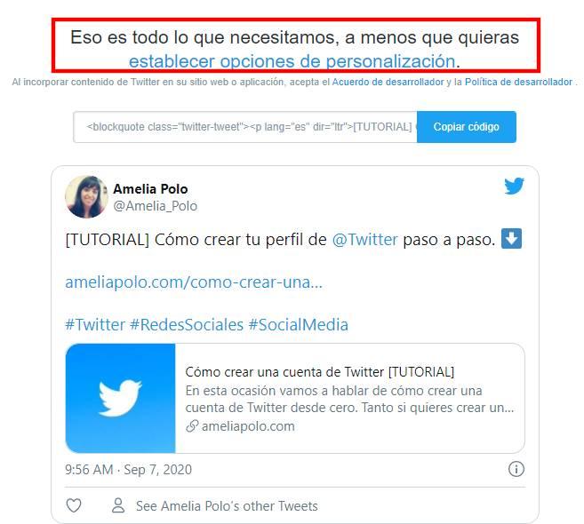 insertar tuit de twitter en la web