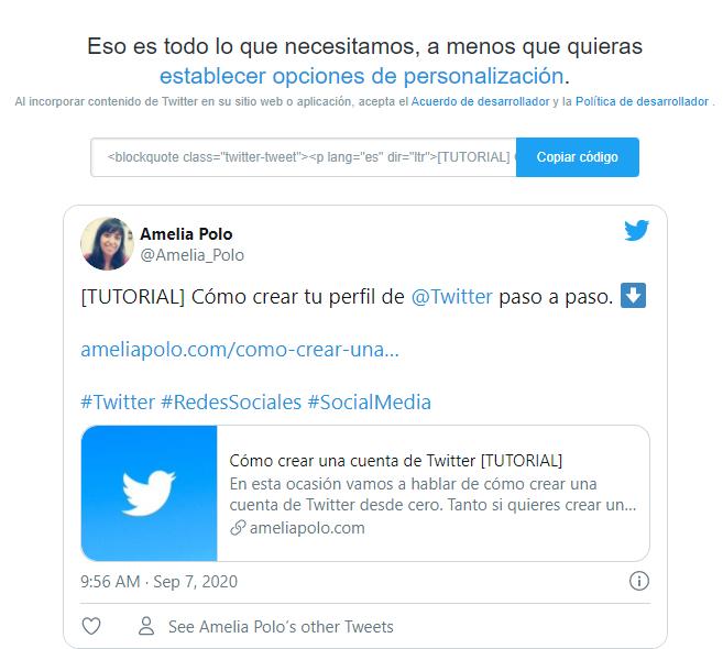 insertar tuit en web